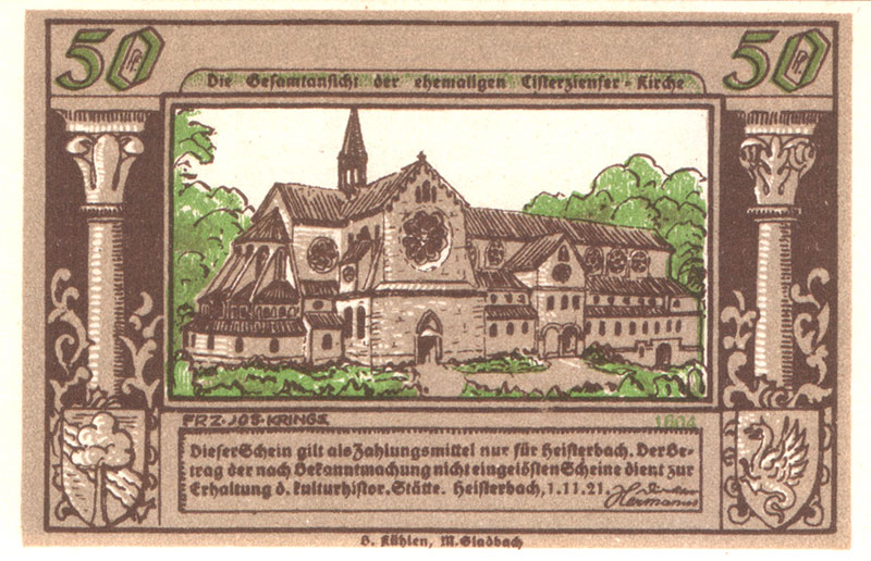 Puc 8 Heisterbach 50Pf 1921 Kloster