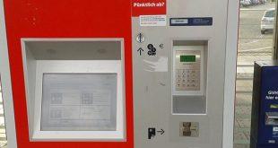 Der Automat auf der Plattform, in welchem die Tickets gekauft wurden.